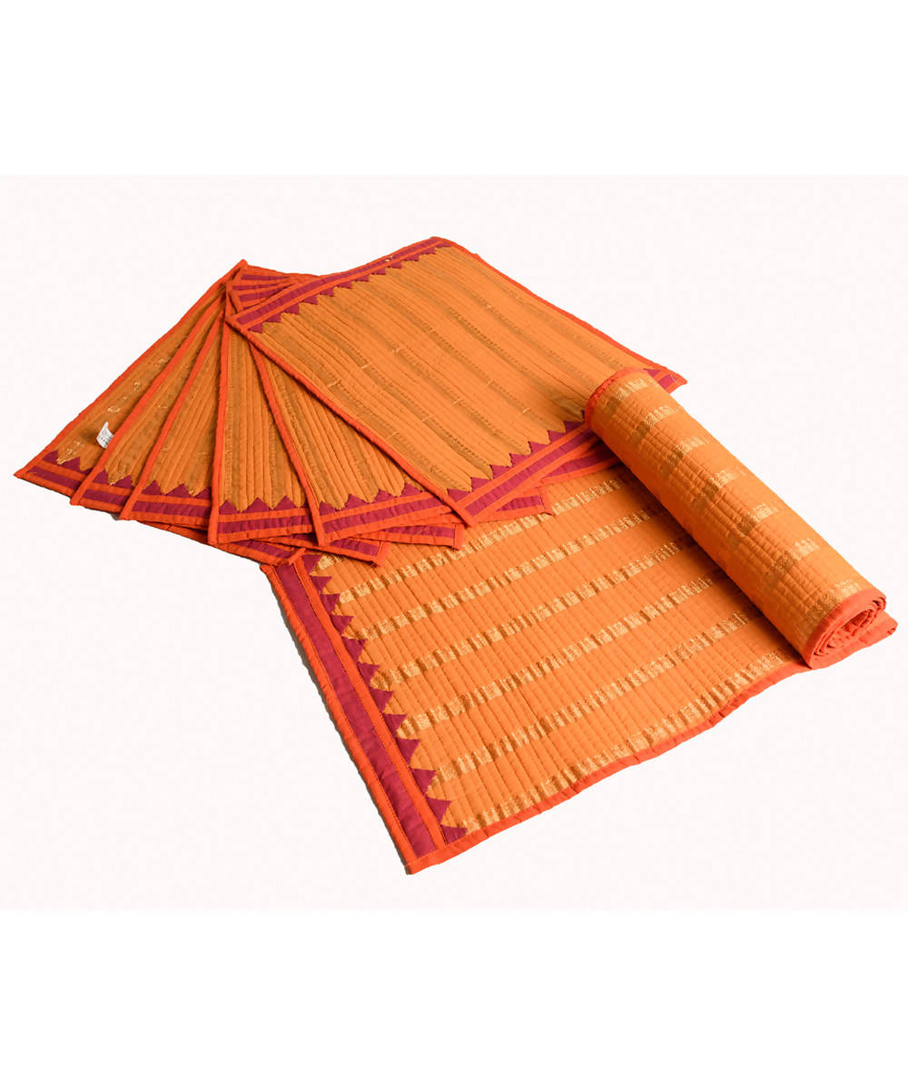 Mustard Mangalgiri Cotton Table mat and runner set