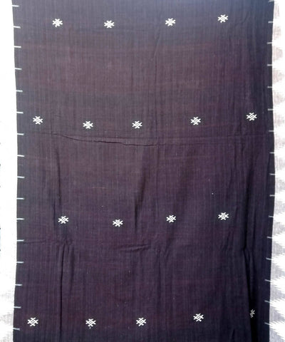 Dark Brown Handwoven Kotpad Natural Dye Cotton Saree