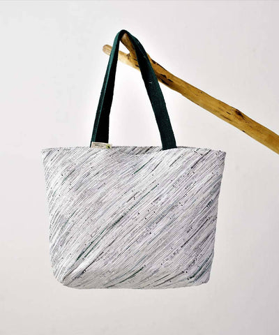 White Silver Upcycled Handmade Beach Bag