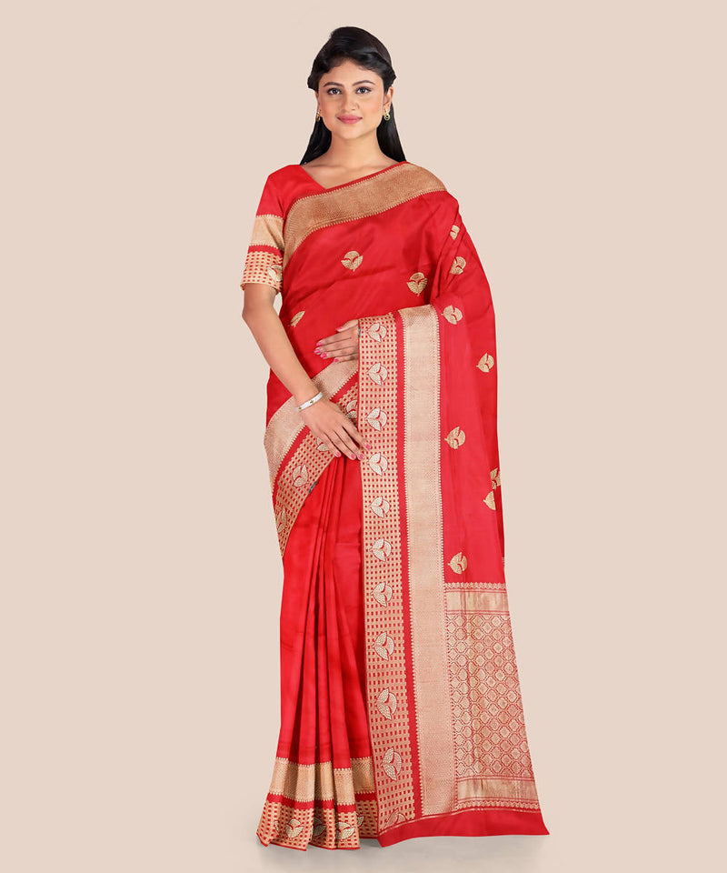 Red handloom silk katan banarasi saree