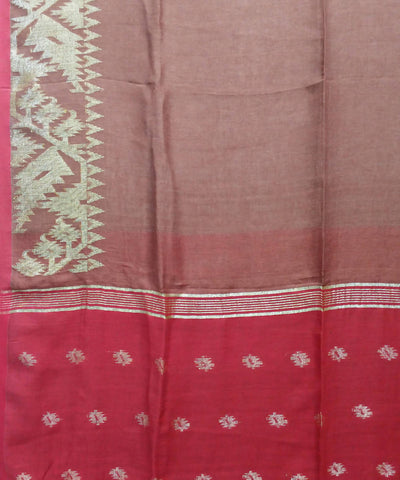 light brown red handwoven Linen Jamdani Saree