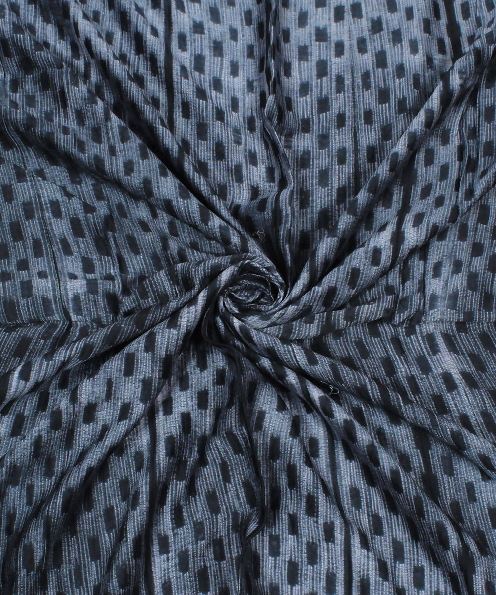Grey Shibori Print Chanderi Kurta Fabric
