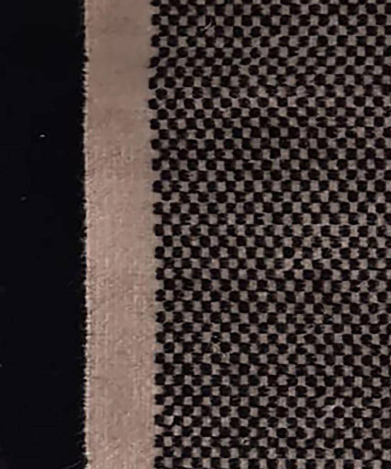 Black and white checquered handwoven wool and cotton durrie