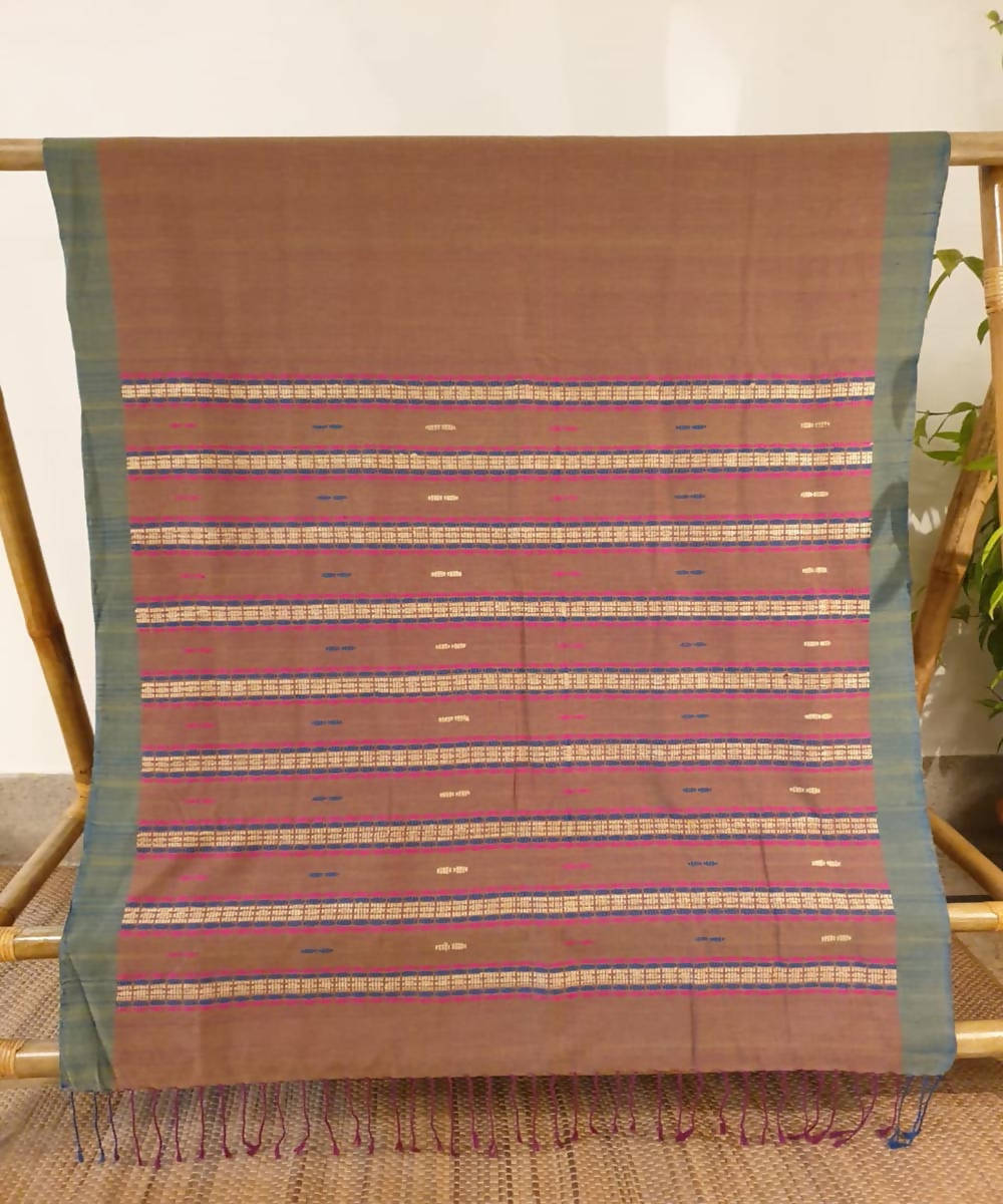 Light brown assam handwoven cotton and ghiccha saree