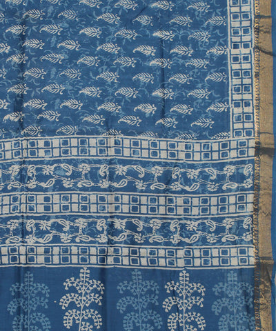 Blue Handblock Printed Sico Saree