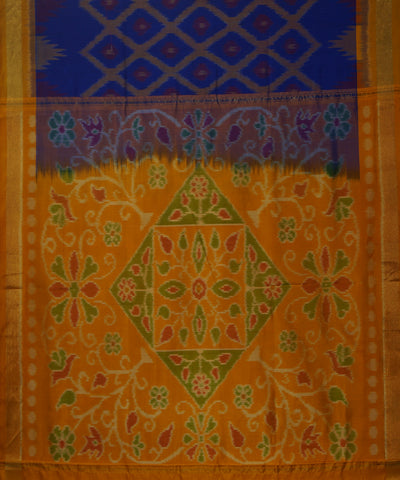 Blue Yellow Orange Handloom Soft Silk Saree