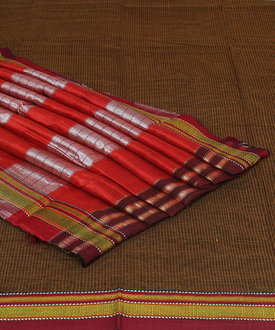 Ilkal Chikki Paras Check Brown Handloom Saree