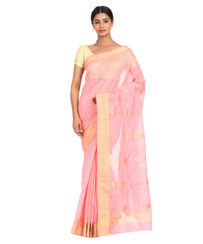 Chanderi Light Peach Handwoven Sico Saree