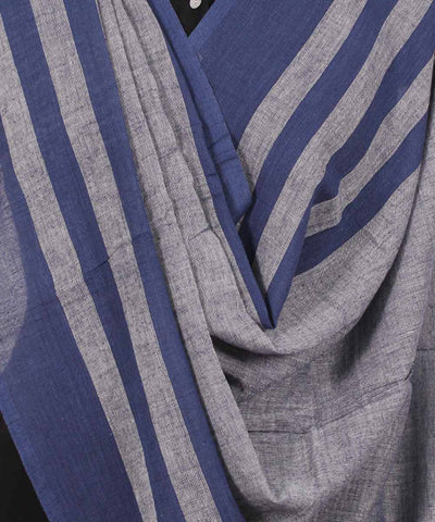 Handwoven Grey And Blue Cotton Dupatta