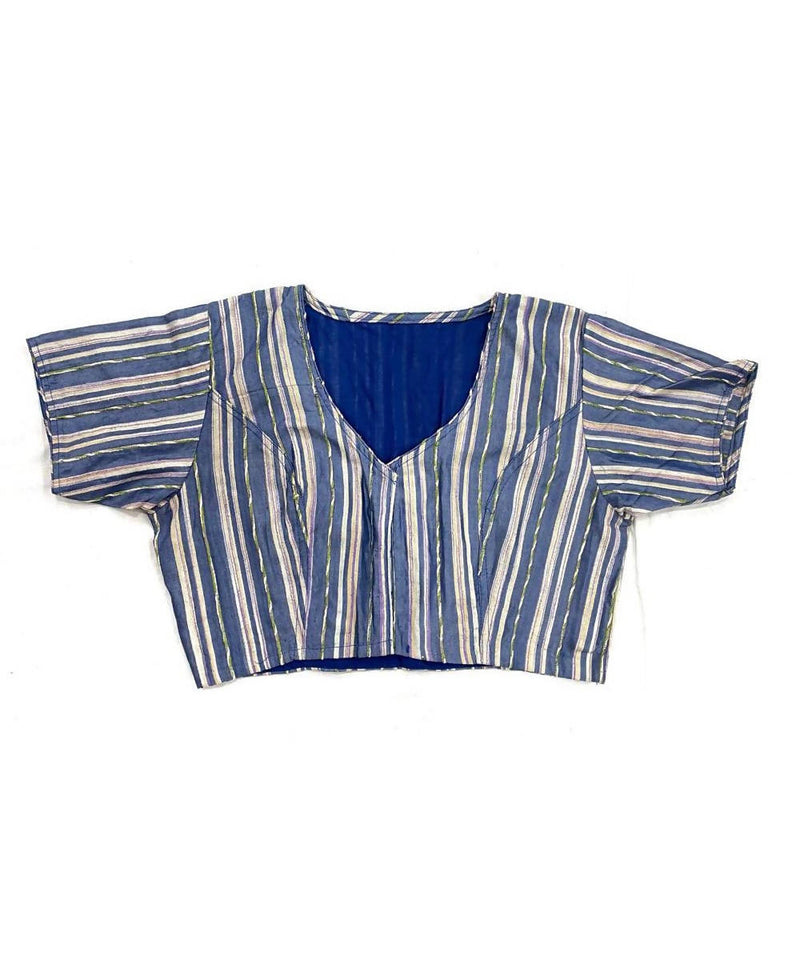 Grey handwoven cotton silk striped blouse