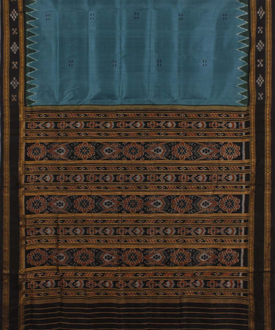 Aegean Blue Black Khandua Silk Saree