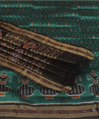 Handwoven Green Black Khandua Silk Saree