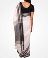 Handwoven Linen Black And White Saree