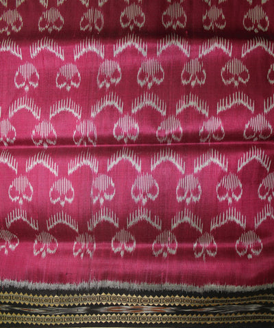 Pink Black Handwoven Khandua Silk Saree