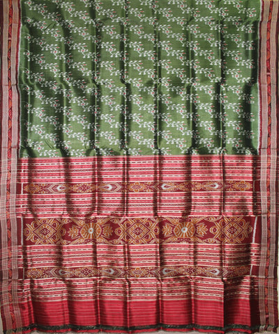 Handwoven Khandua Silk Saree Green Maroon