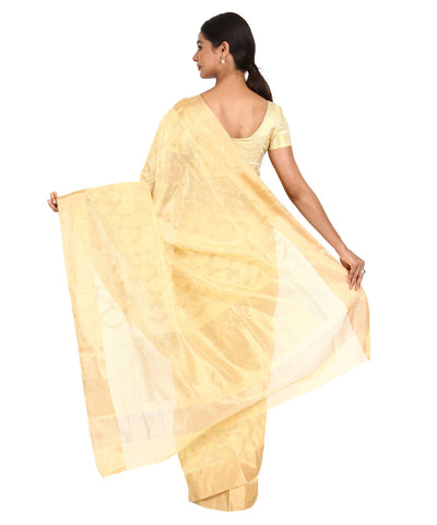 Cream Handwoven Chanderi Sico Saree