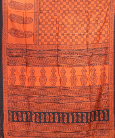 Orange Black Handloom Printed Mulberry Saree