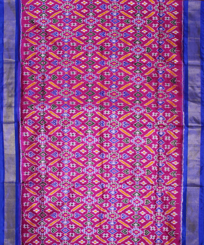 Magenta Royal Blue Handloom Ikat Rajkot Silk Saree
