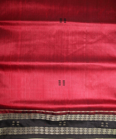 Handwoven Khandua Silk Saree of Nuapatna in Maroon and Black