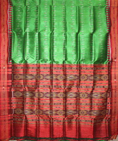Handwoven Khandua Silk Saree of Nuapatna in Parrot Green and Maroon