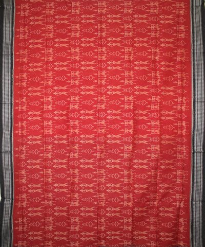 Handwoven Sambalpuri Saree Rust Black