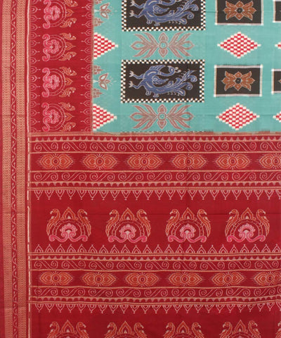 Jungle Green Maroon Handloom Sambalpuri Saree