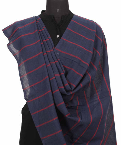Handwoven Denim Blue Cotton Dupatta