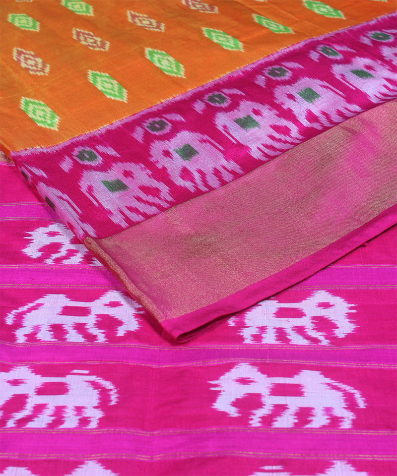 Handloom orange pink ikat rajkot silk pochampally saree