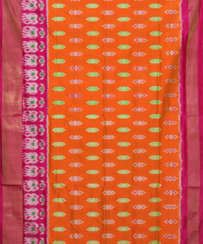 Handloom Orange Pink Ikat Rajkot Silk Saree