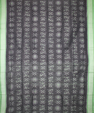 Handwoven Sambalpuri Ikat Cotton Saree in Black and Green
