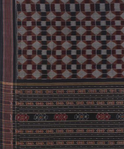 Grey Black Handloom Sambalpuri Cotton Saree