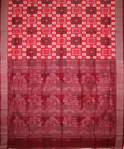 Handwoven Pasapalli Cotton Saree in Red and Dark Maroon
