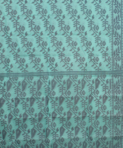 Cyan Blue Green Bengal Handloom Cotton Saree