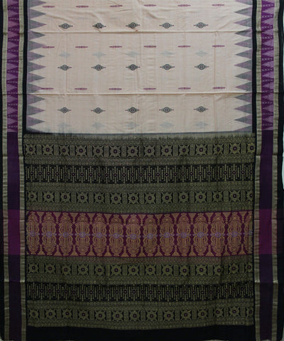 Handwoven Bomkai Cotton Saree in Offwhite and Black