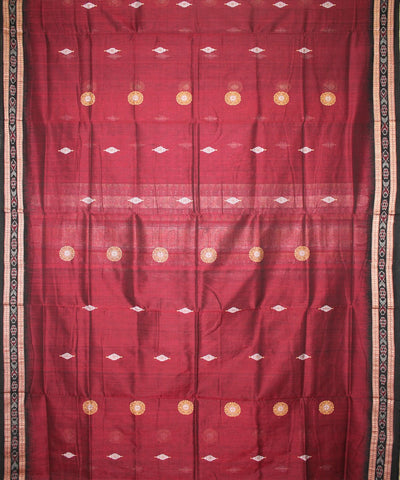 Handwoven Bomkai Cotton Saree in Maroon and Black
