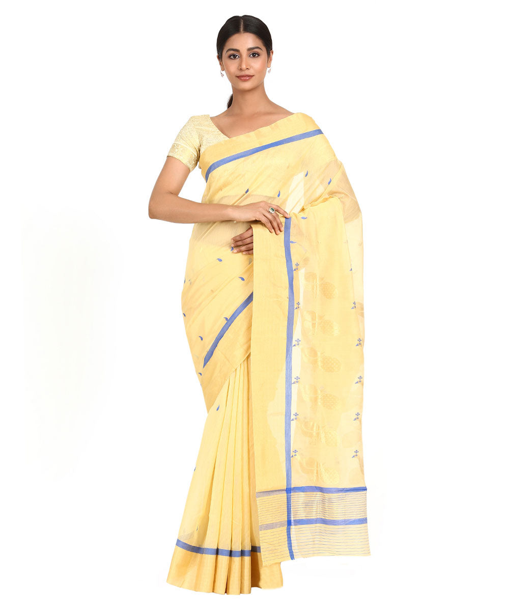 Cream with Blue Handwoven Chanderi Sico Saree