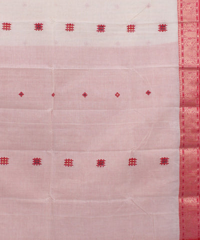 Cream Red Bengal Handloom Tant Cotton Saree