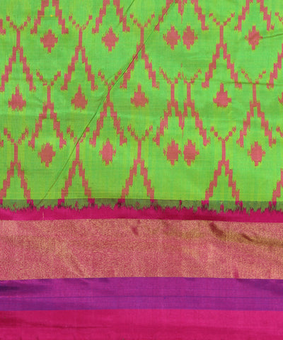 Handwoven Parrot Green Pochampally Silk Saree