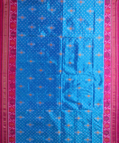 Dark Sky Blue Pink Handloom Ikat Silk Saree