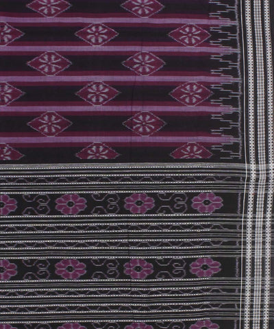 Purple Black Sambalpuri Handloom Cotton Saree