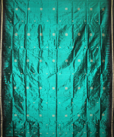 Handwoven Bomkai Silk Saree of Sonepur in Sea Green and Black