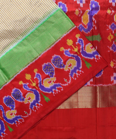 Cream Peacock Motifs Handloom Ikat Rajkot Silk Saree