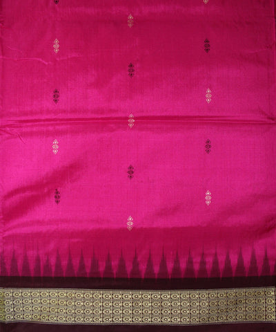 Handwoven Bomkai Silk Saree of Sonepur in Deep Pink and Antique Ruby