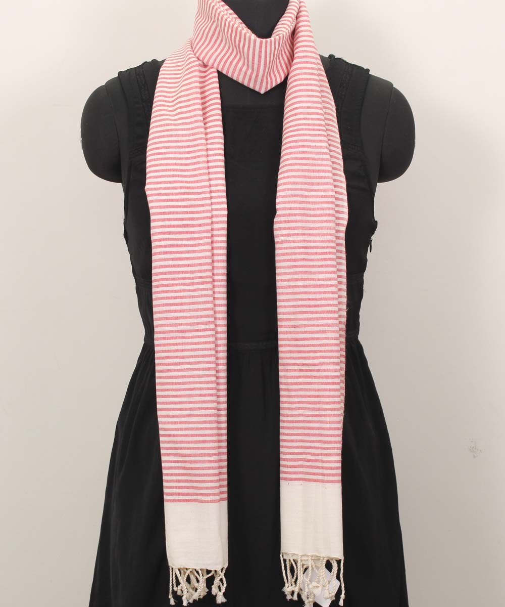 Handwoven Red And Beige Cotton Stole