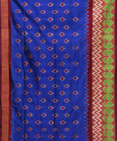 Handwoven Blue Purple Ikkat Silk Saree