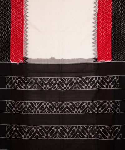 Handloom Off White Black Ikkat Cotton Saree
