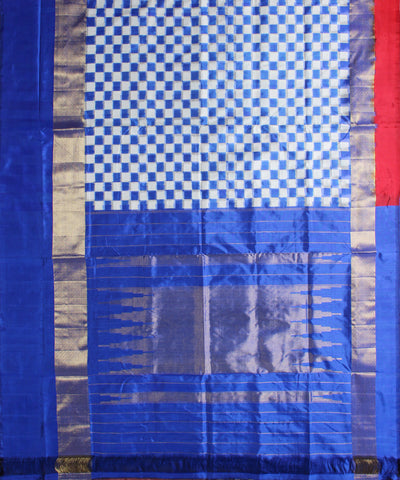 Checkered Handloom Ikat Silk Saree