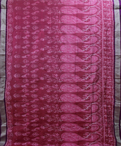 Handwoven Sambalpuri Ikat Silk Saree in Pink and Byzantine