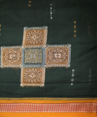 Handwoven Bomkai Cotton Saree in Green and Yellow