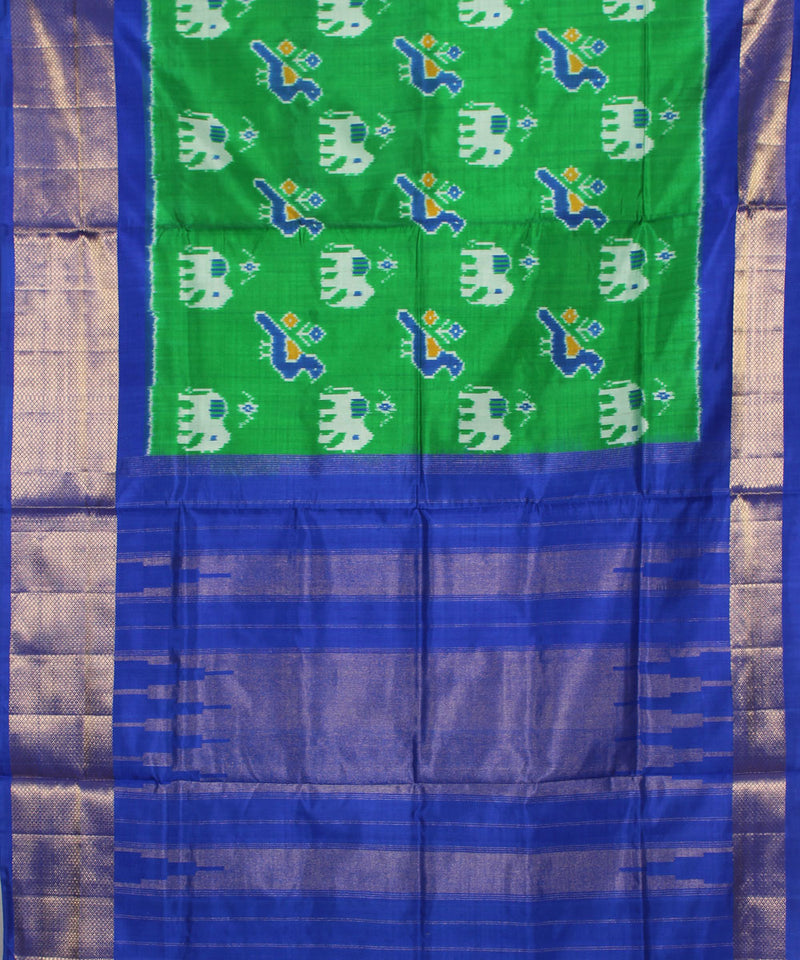 Green Blue Handloom Ikat Rajkot Silk Saree